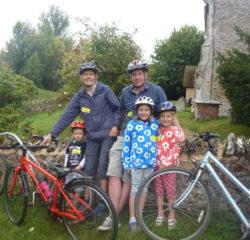 George (3), Joanna, Alex, Amelia (7) and Annabel (6) Gillington at St John the Baptist, South Moreton - Joanna GIllington